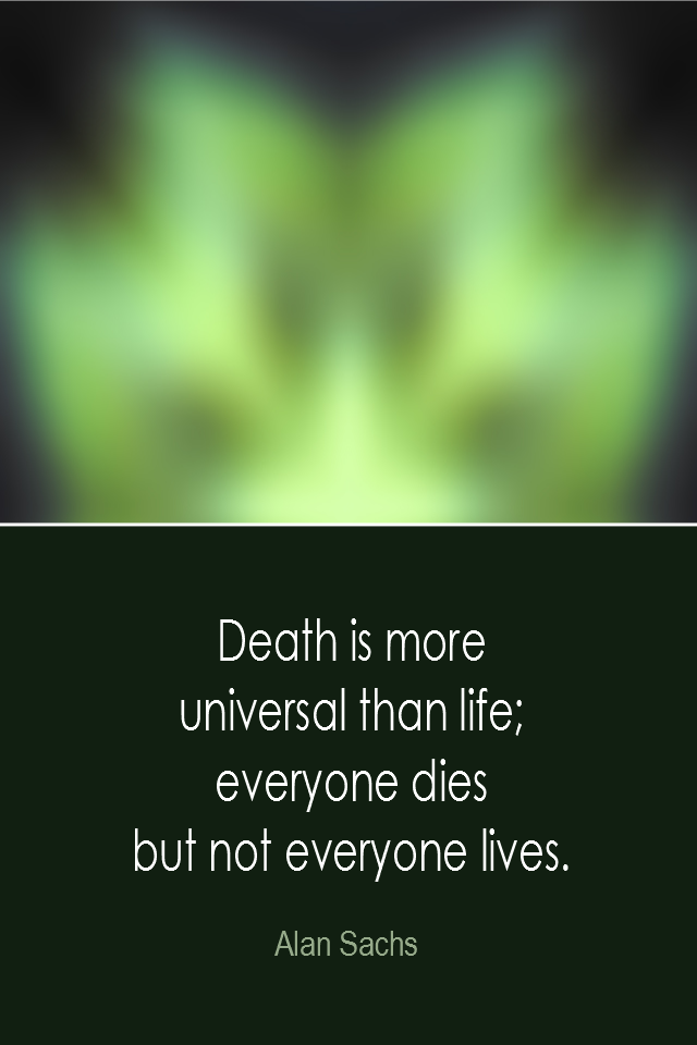 visual quote - image quotation: Death is more universal than life; everyone dies but not everyone lives. - Alan Sachs