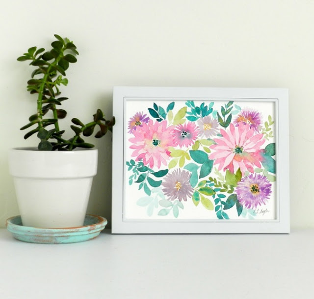 Watercolor fPink Flowers Painting by Elise Engh- Grow Creative Blog