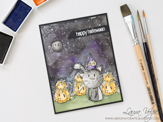 Halloween Card feat Bugaboo stamps and Gansai Tambi Watercolors