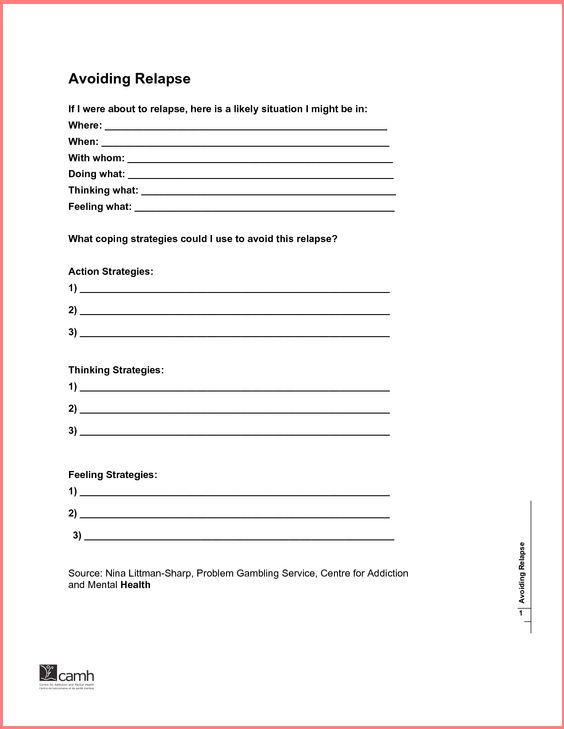Relapse Prevention Worksheets Delibertad – Relapse Prevention Worksheets