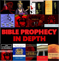 "a graphic that says in red capital letters Bible Prophecy in Depth. Above the title are graphics of the Whore of Babylon riding the beast of Revelation, a close up of the Whore of Babylon, an info graphic of the four horsemen of revelation, a graphic of the angel of Death next to a covenant of death, an info graphic of the 7 trumpet and 7 bowl judgments of the book of revelation, the mouth of a roaring lion symbolic of the Antichrist, a graphic of the 7th and 8th head of the Antichrist as depicted on the beast of Revelation and a graphic of Baphomet with 666 across his chest and an excerpt from the book of 2John which reads ""The Antichrist is coming"". Below the title that reads Bible Prophecy in Depth are book covers of the following books by Erika Grey The Antichrist of Revelation: 666, The Seat of the Antichrist: Bible Prophecy and the European Union, End of the World: The Revelation Prophecy, The Revived Roman Empire: Europe in Bible Prophecy and the Apocalypse:The End of Days Prophecy"