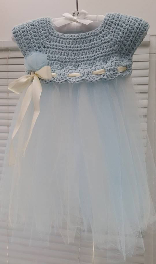 Crochet and Tulle Baby Dress - Free Pattern