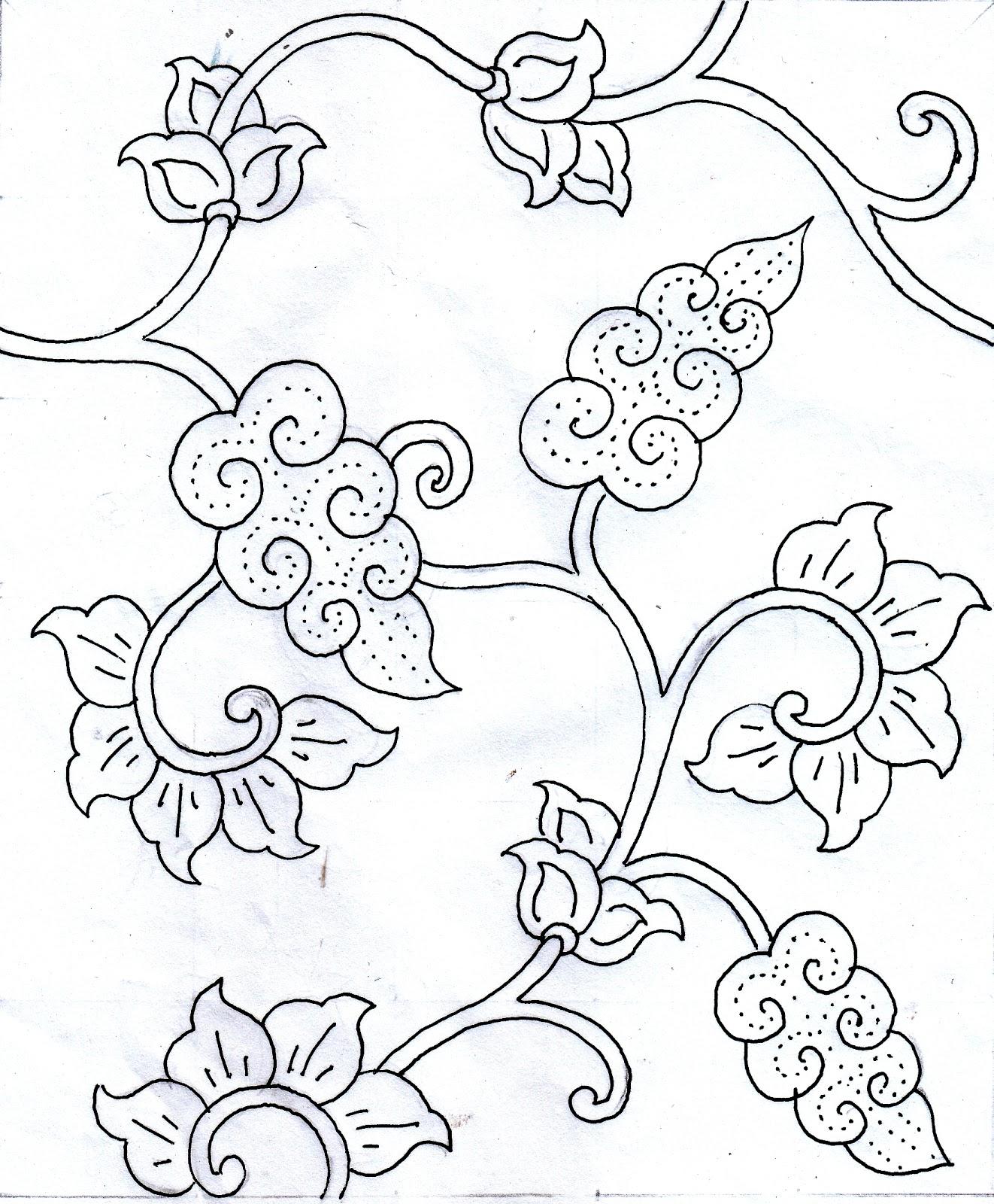 Sketsa Batik Bunga : sketsa, batik, bunga, Gambar, Mewarnai, Motif, Batik, Sederhana