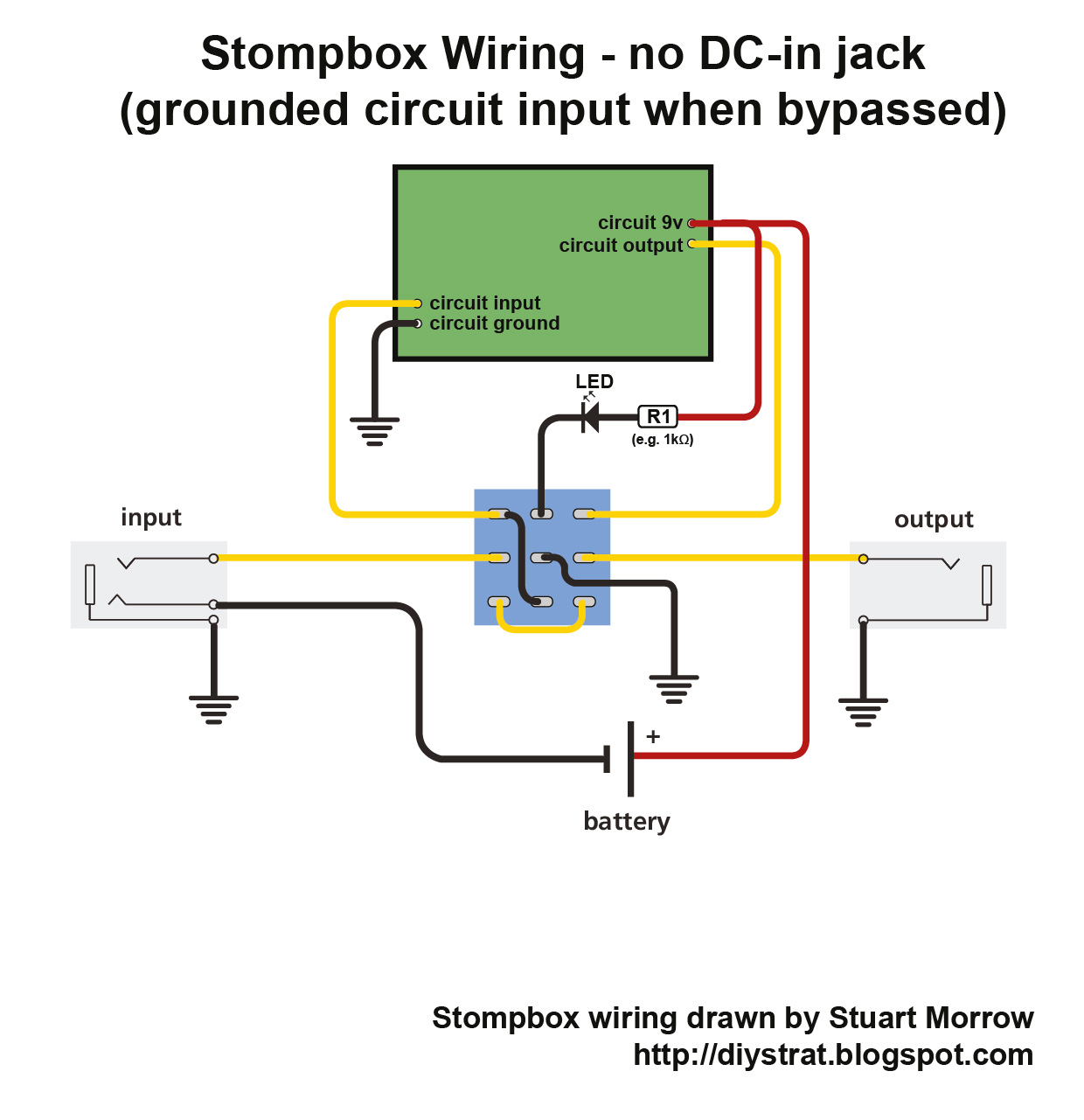 Dc Jack Wiring Diagram Real For Headphones How To Wire Up A Stomp Box Effects Pedal Diy Strat Positive Negative Converter From Ac