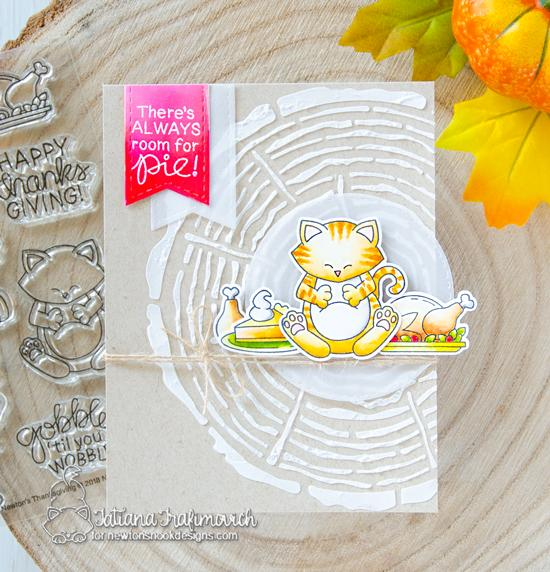 Thanksgiving cat card by Tatiana Trafivomich | Newton's Thanksgiving Stamp Set and Tree Rings Stencil by Newton's Nook Designs #newtonsnook #handmade
