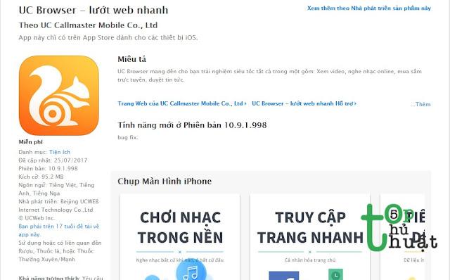 Trình duyệt web UC Browser for iPhone