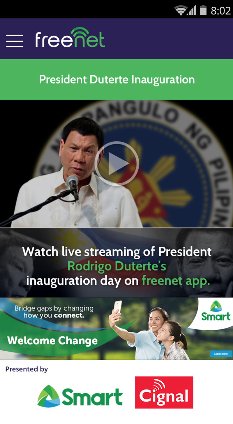 Smart To Air The Inauguration Of President Duterte Via Freenet App For FREE!