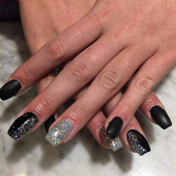 Rhinestones, Coffin French Tip Nails