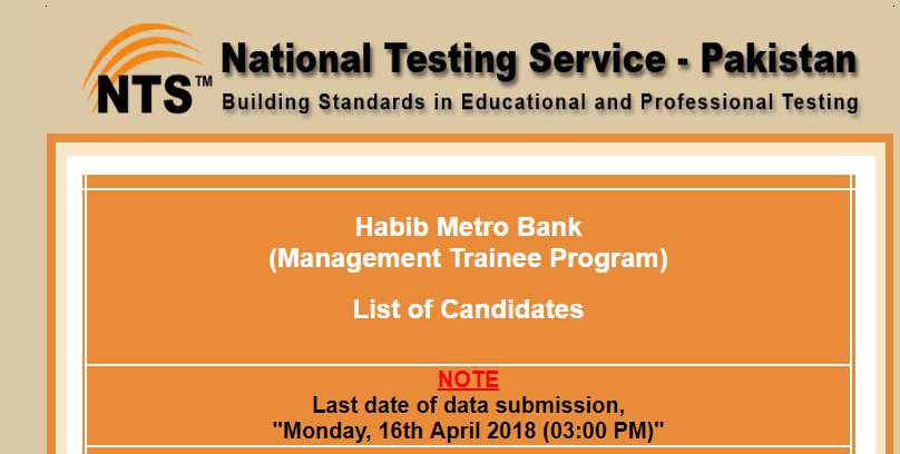 NTS Habib Metro Bank Management Trainee Program List of Candidates
