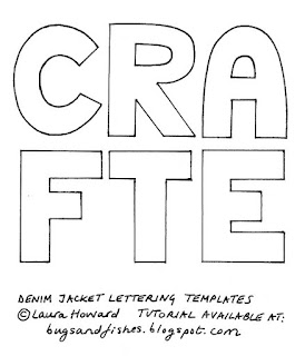Lettering templates to decorate a denim jacket