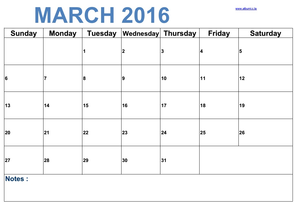 Weekly Calendar Landscape View : March new blank calendars for print