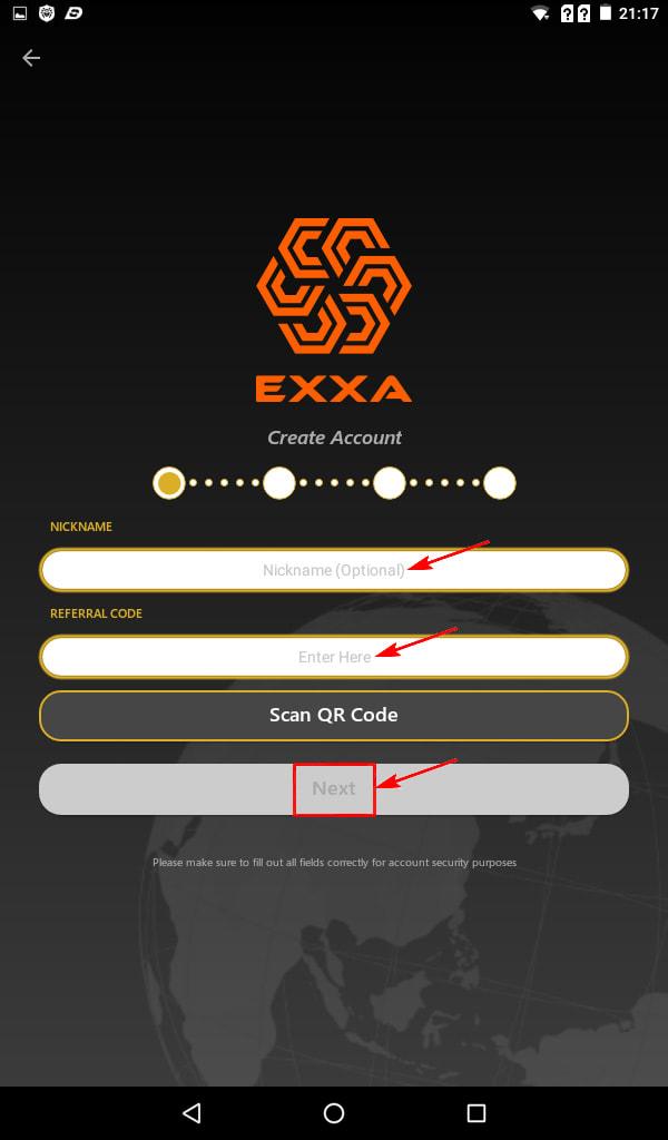 Регистрация в EXXA Network 3