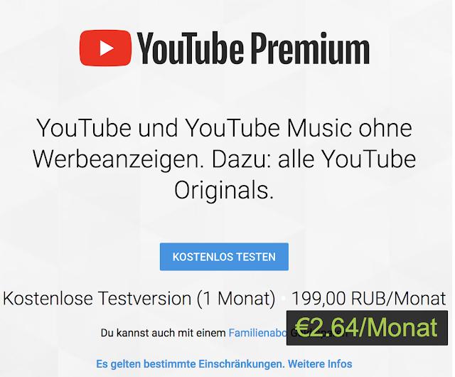 YouTube Premium für nur €2.64 bestellen