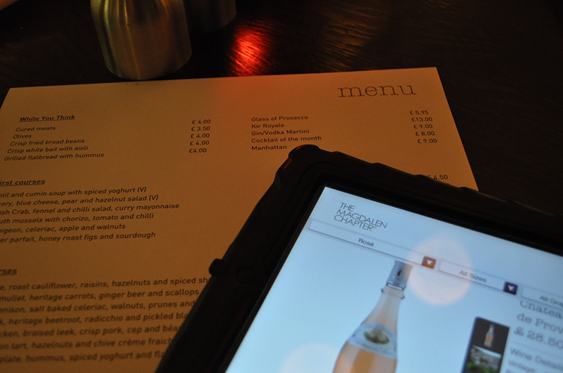 menu and interactive wine list