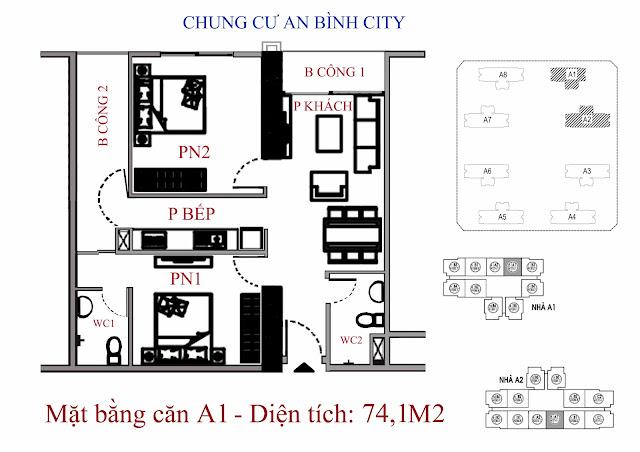 Căn A1 diện tích 74,1m2 An Bình City