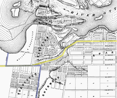 Crop of a map from 1856 which shows Bytown with limits at Bank Street (East), Centre Street (now Somerset, South), City Limits (Now City Centre Ave, West), and the Ottawa River (North). Wellington Street, Richmond Road, and the streets connecting them are highlighted in yellow, and the western city limits are highlighted in blue. The lots of Sparks, Sherwood, Rochester, 'Lebritton', and Malloch & Rochester are labelled, as are their subdivided streets and lots. Hill edges are marked at Mount Sherwood and along the Ottawa River behind Victoria St (present day Supreme Court), and continuing west along Wellington Street through to Richmond. Between Bay and Concession Line (now Bronson), Wellington Street makes an abrupt turn southwest and is labelled George St which heads to the east approach to Pooley's Bridge and continues to Hill Street (now Brickhill) after which it becomes Victoria Terrace where it meets Richmond Road at a shallow angle on the southern boundary of LeBreton Flats. Richmond Road is drawn as continuous in line with Maria Street (now Richmond). North of Richmond Road, nothing is drawn west of Broad Street aside from the name of the property owner (Malloch & Rochester), and south of Richmond Road nothing is shown that is more than a few houses west of Preston.