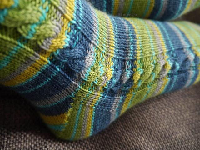 zoom torsade chaussettes tricotées