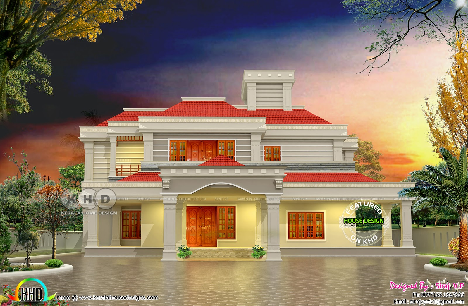 5 bedroom sloped roof house plan 325 sq M | Kerala home