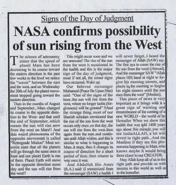 Nasa menyatakan kemungkinan terbitnya matahari dari Barat