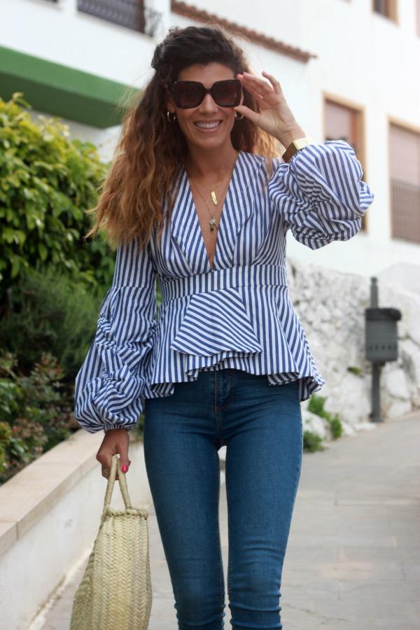 Camisa de rayas, blusa de rayas, look diario