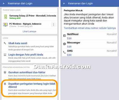 peringatan login FB dari SMS Email dan Messenger