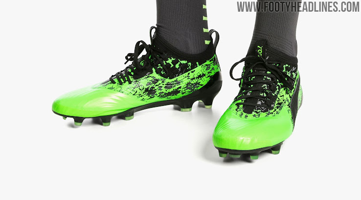 64333b10b ... Release date: 1 April 2019. The black and electric green Puma ONE  Hacked Pack soccer boots ...