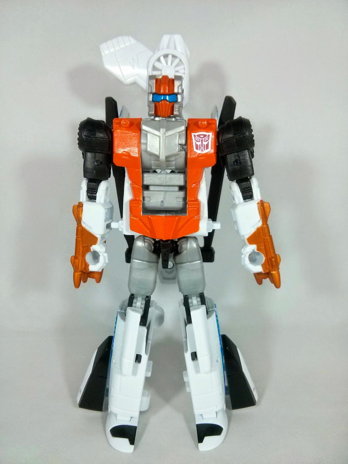 a front view of alpha bravo in bot mode