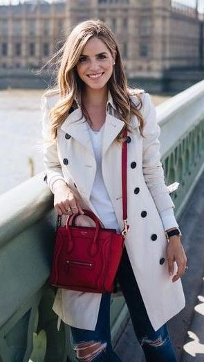 how to wear a red bag : nude coat + rips + top