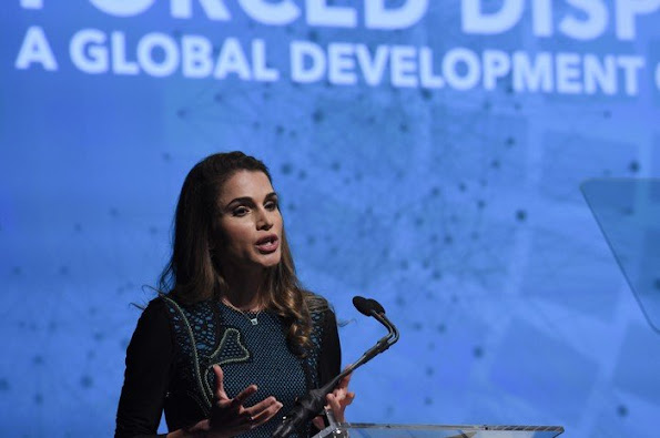 Queen Rania of Jordan sits next to President, World Bank Group Jim Yong Kim and Ban Ki-moon, Secretary-General, United Nations before delivering remarks during a discussion on 'Forced Displacement: A Global Development Challenge'