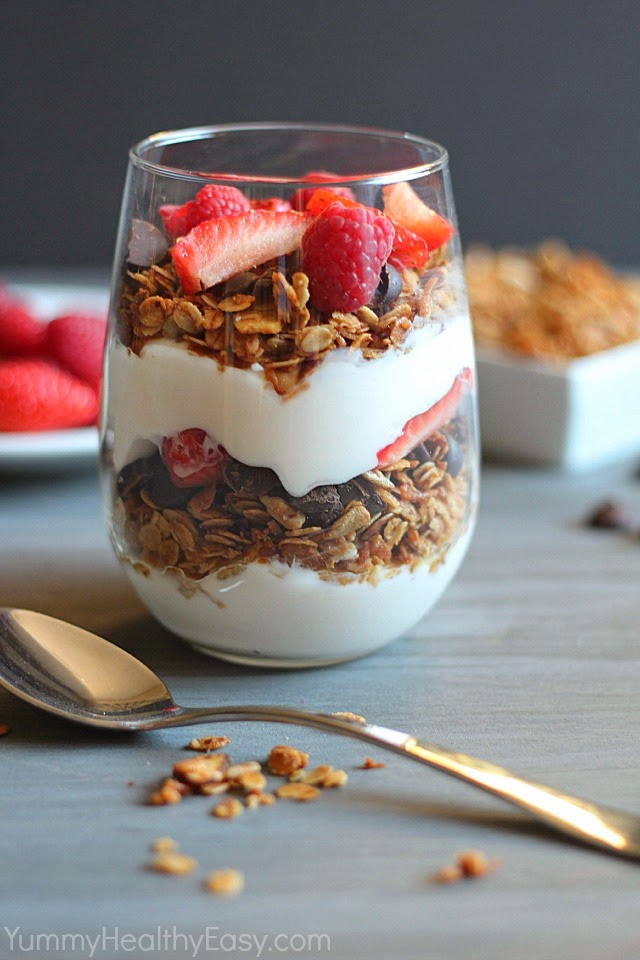 Healthy Homemade Granola Parfait Breakfast for Champs Granola Parfait layered with healthier granola (made with coconut oil!)