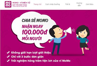 Kết nối Ví MoMo Nhận ngay 100.000 VND