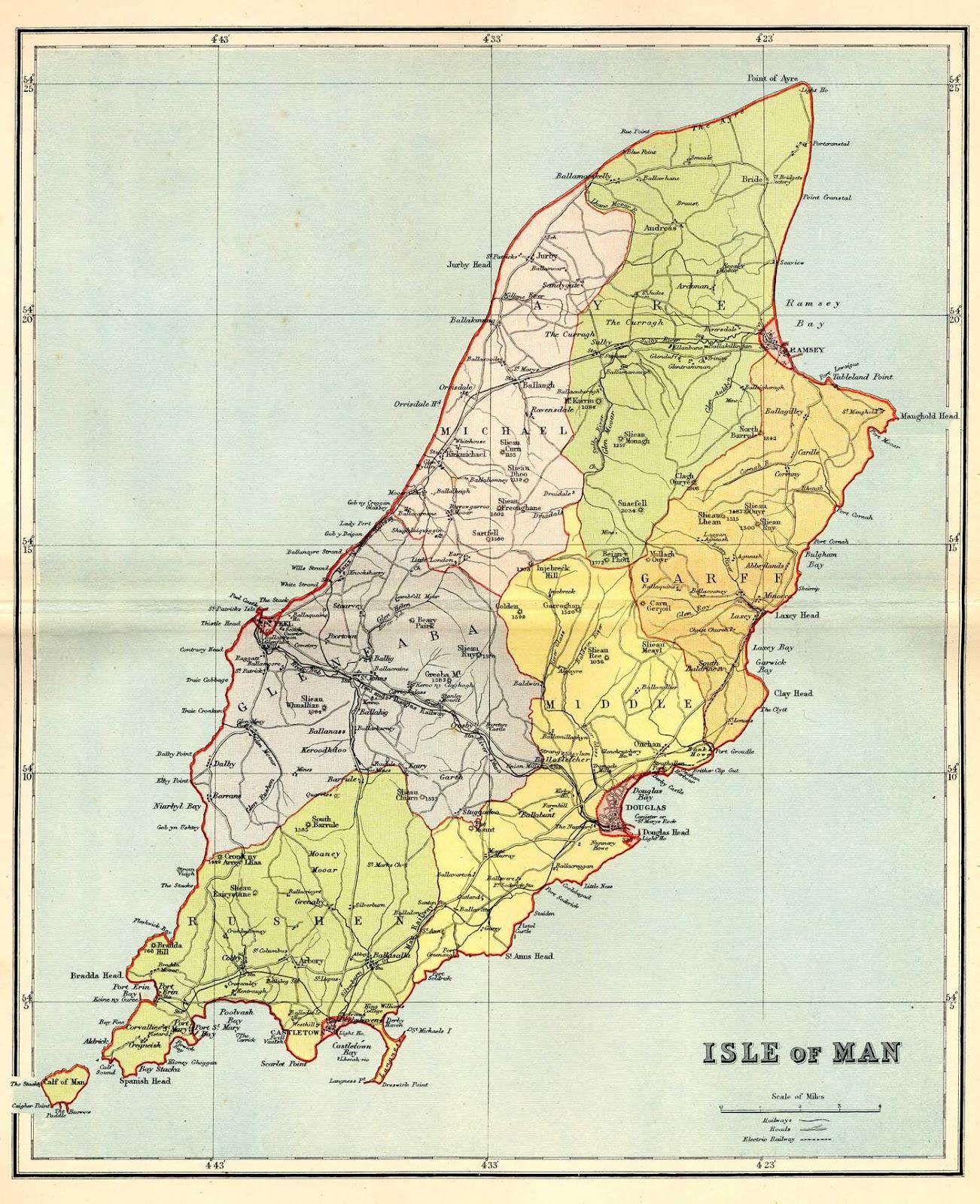 Mapas da Ilha Man | Reino Unido