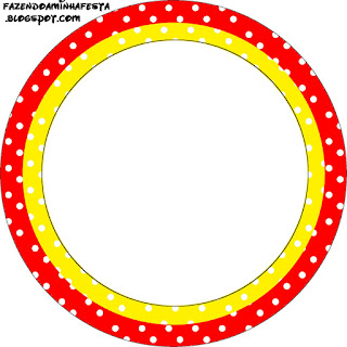Toppers o Etiquetas de Rojo, Amarillo y Lunares Blancos para imprimir gratis.