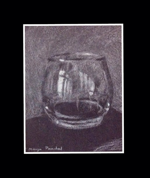 still life charcoal sketching of a glass by Manju Panchal