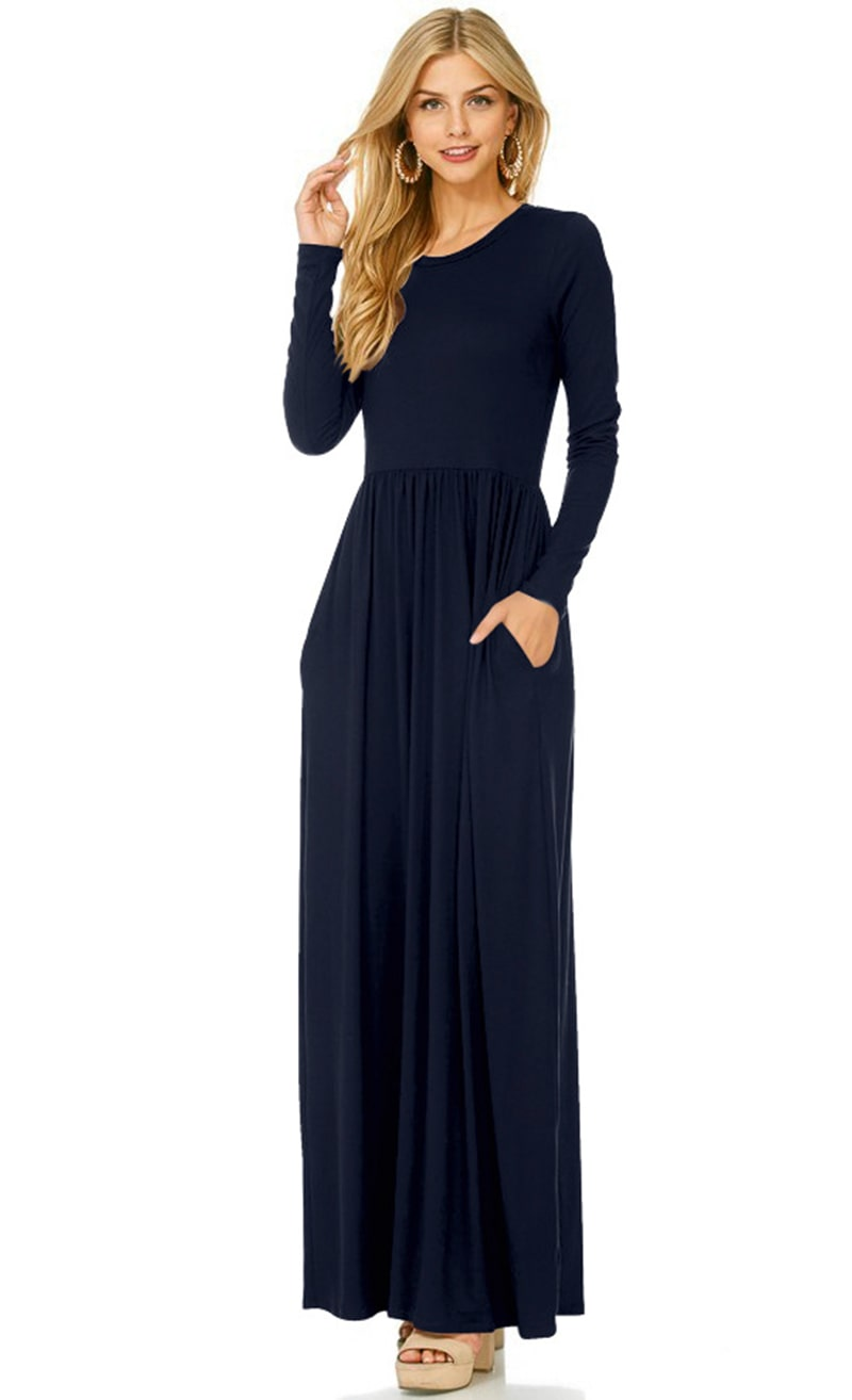 Dresses Maxi Casual Dress Women Fashion Loose Dresses Solid Long Sleeve Dresses Round Collar Long Sexy Elegant Dress Women's Vestidos