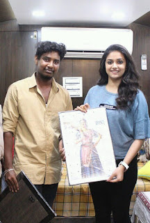 Keerthy Suresh in Blue T-Shirt with Cute and Lovely Smile with a Lucky Fan 1
