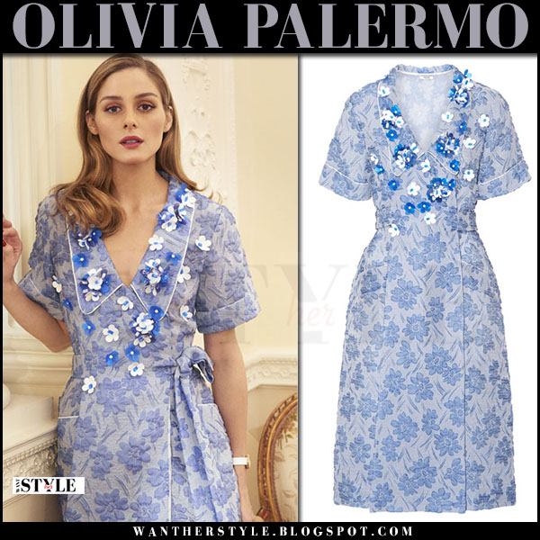 Olivia Palermo in blue floral embellished wrap dress miu miu what she wore april 2017