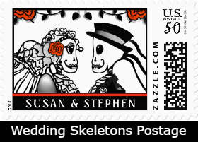 Halloween Wedding Bride & Groom Skeletons & Roses Custom Postage