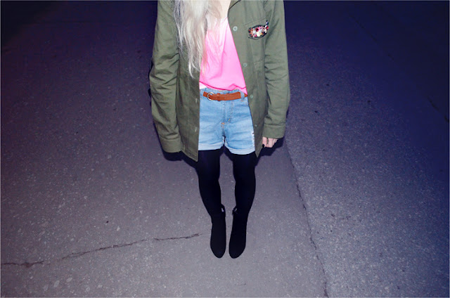 NEON OMBRE + ARMY GREEN