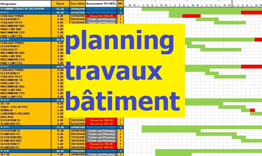 Exemple Planning Travaux Construction Btiment En Excel  Outils