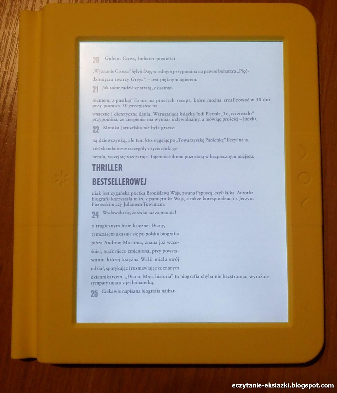 Przykład działania trybu reflow w czytniku Bookeen Saga