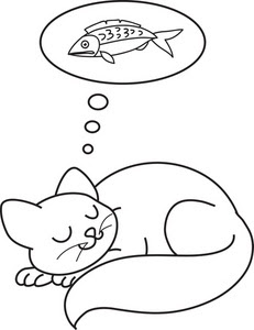 Cute Sleeping Cat Animal Coloring Sheet Online