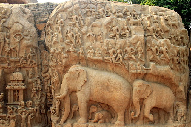 """Descent of the Ganges"" - largest open-air bas-relief in the world"