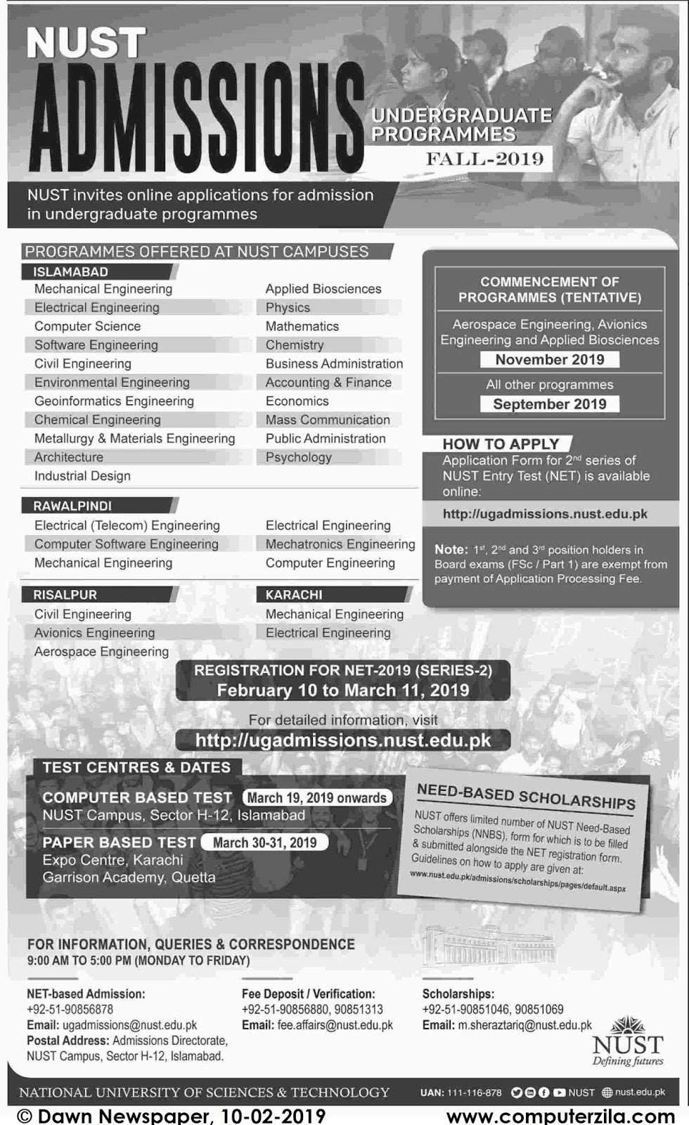 Admissions Open For Fall 2019 At NUST Islamabad Campus