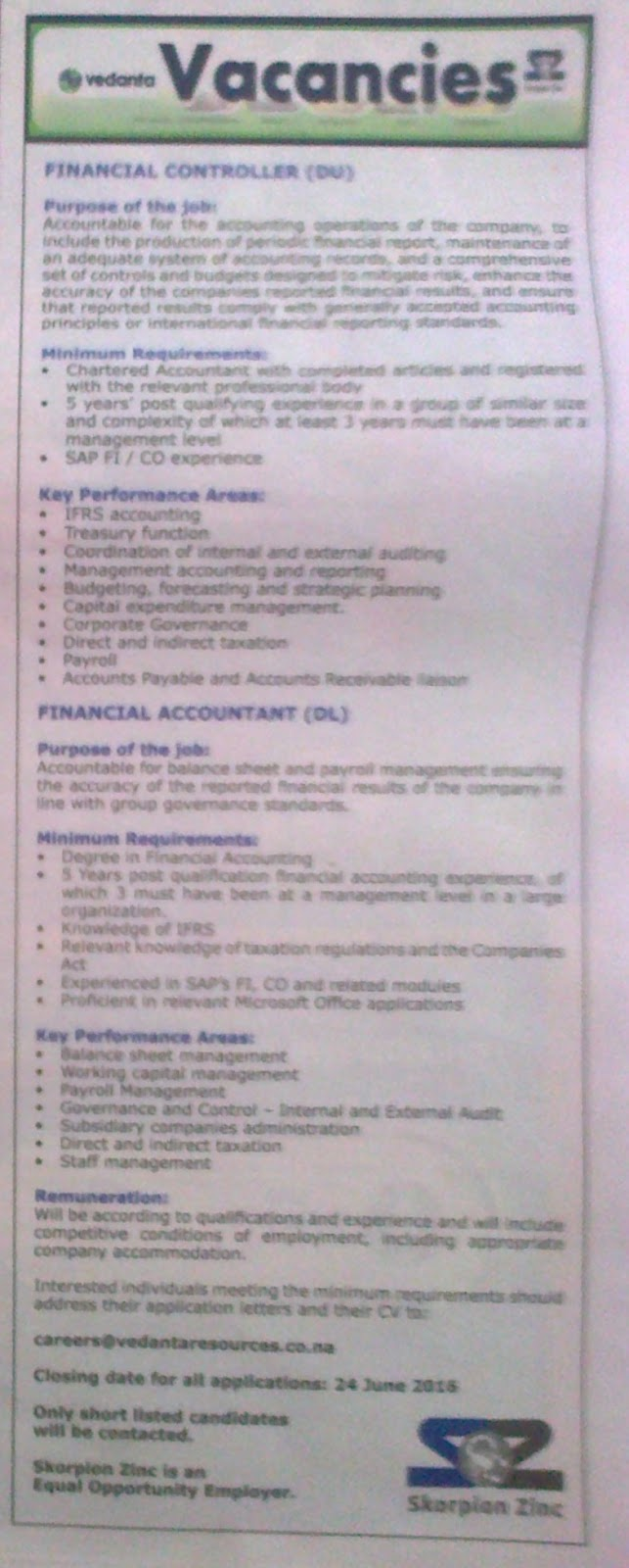 Jobs In Namibia 2 Positions Financial Accountant And