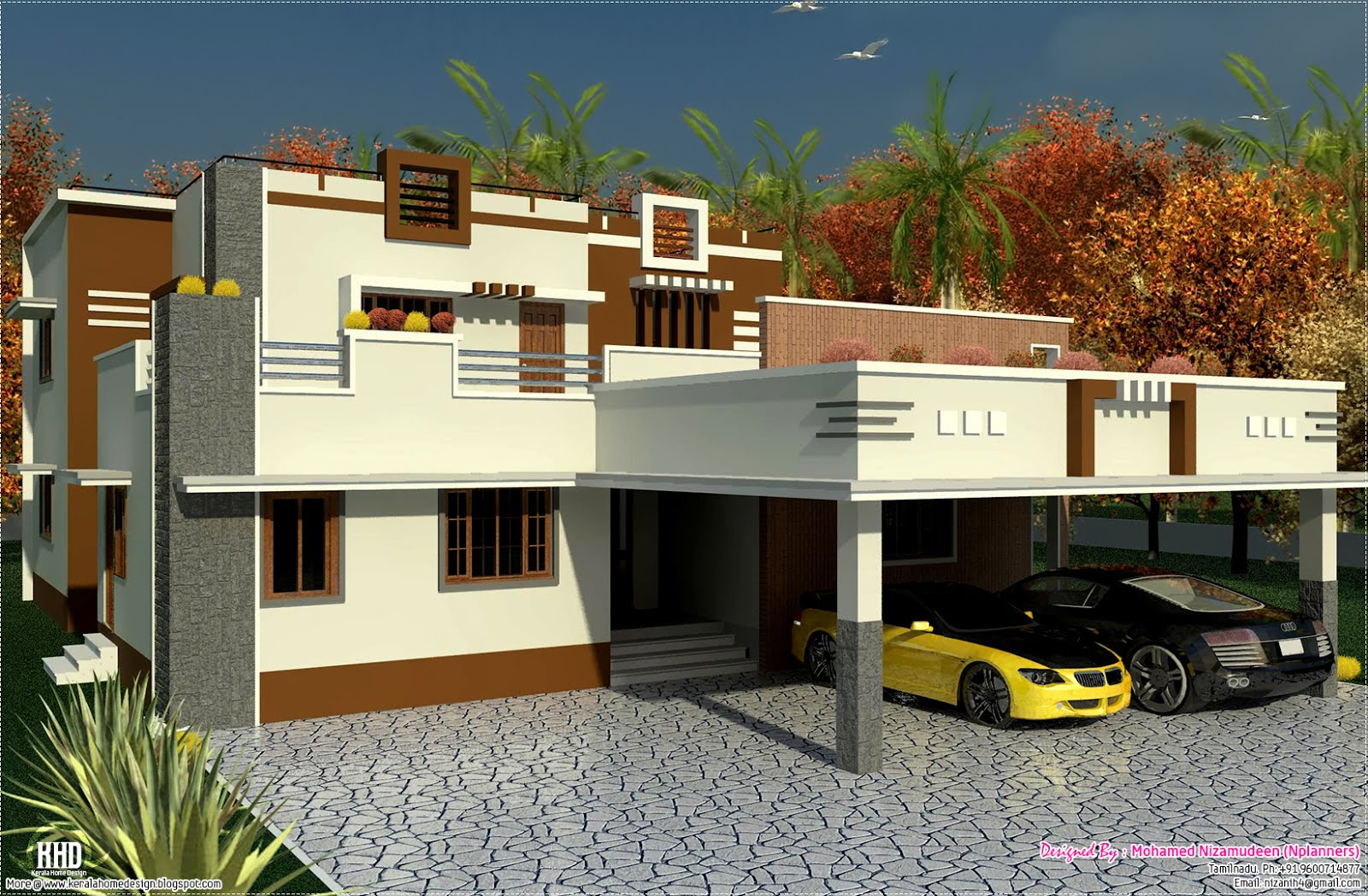South indian home design in 3476 kerala house Designer houses in india