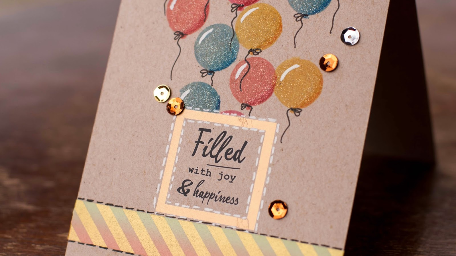 how to add 3d feel to stamped images - using solid stamps kraft card base close up
