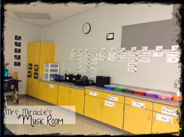 My Music Room Set-Up: Blog post with TONS of ideas for organization and decor in your music and/or space-themed classroom!