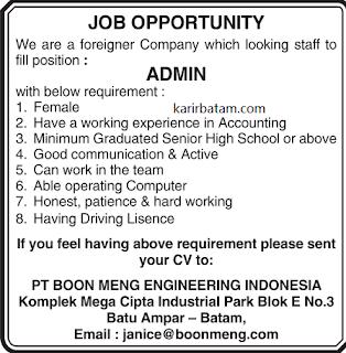 Lowongan Kerja PT. Boon Meng Engineering