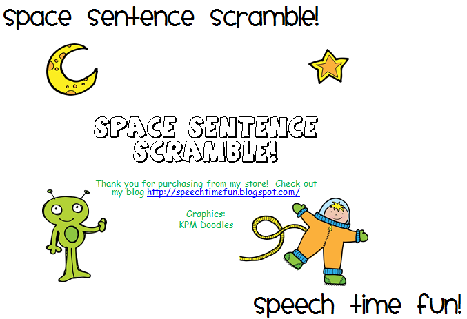 Space Sentence Scramble! - Speech Time Fun: Speech and Language